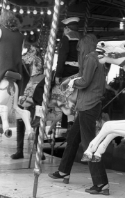 David, Greta and Simon on the carousel