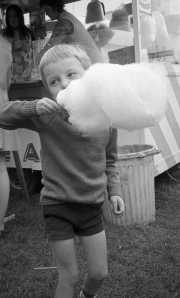 Simon eating candy floss