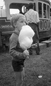 Simon eating candy floss