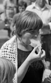 Greta eating candy floss