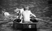 Simon and David rowing