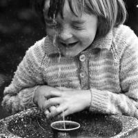 Simon at a drinking fountain