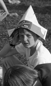 Simon in a paper hat