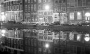 Canal reflections at night