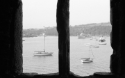 Fowey harbour through castle window