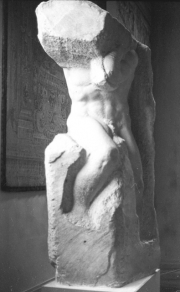 Partially completed sculpture by Michelangelo