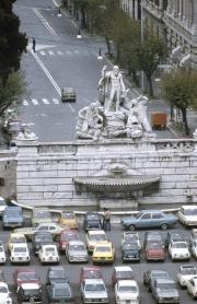 Fountain in Piazza Del Popolo from Pincian Hill