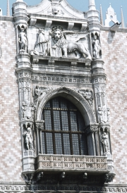 Doge's Palace - window and Lion of St Mark