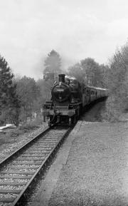 Train arriving at Northwood Halt