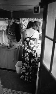 Greta washing up