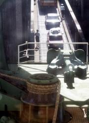 Cars on ferry ramp