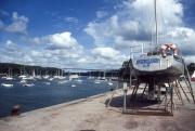 Benodet harbour and bridge, with yacht