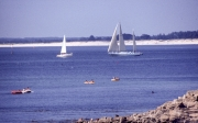Yachts in harbour entrance, towards Ile Tudy