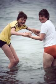 Greta and Simon in the sea