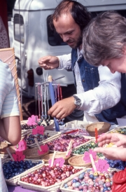 Greta picking beads at Benodet Market