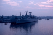 Warship in harbour