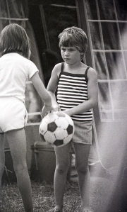 Girls playing with football