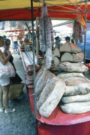 Benodet Market - bread and saucisson