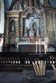 Guimiliau church interior and altar
