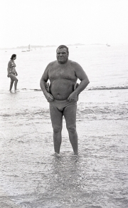 Fat Frenchman in budgie smugglers