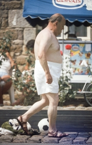 Fat Frenchman in large white shorts
