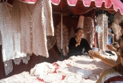 Benodet Market - lace stall, lady with Coif