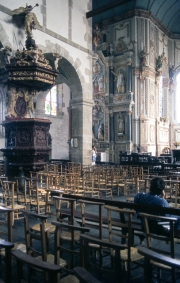 St Thegonnec Church interior and pulpit