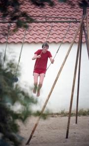 Simon on a swing