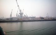 Warship in dry dock