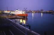 Ferry terminal at night