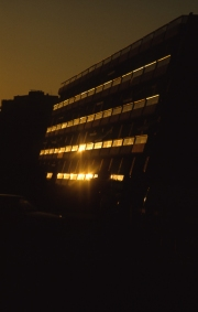 Apartments, reflecting the evening sun