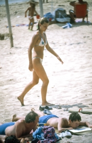 Tall lady in white bikini