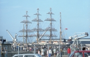 Russian tall ship manning the yards