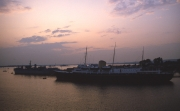 Royal Yacht Britannia at dusk
