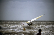 Windsurfer in rough sea