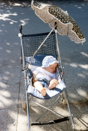 Baby in buggy, asleep