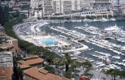 Monte Carlo habour and marina, the swimming pool complex on the F1 circuit