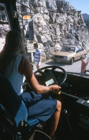 Carolyn in the driver's seat