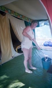 Greta cleaning
