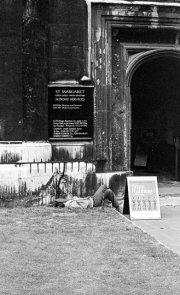 Asleep outside Westminster Abbey