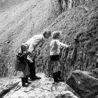 Greta and the children at Gordale Scar