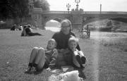John and the children, by the river