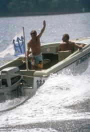 Francky waving goodbye from the boat