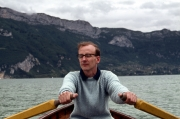 John rowing on Lake Annecy