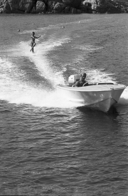 Water-skiing, showing off