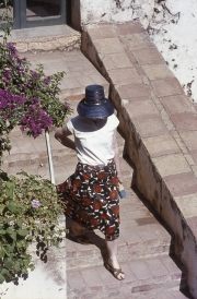 Greta on steps