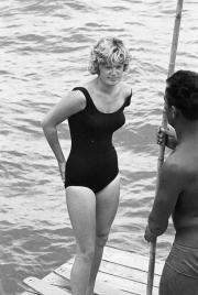 Lady in black swimsuit