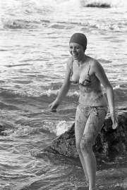 Lady in bikini and bathing cap