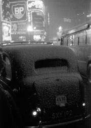 Snow on a taxi