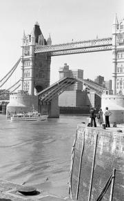 Tower Bridge opening, from St Katharine's